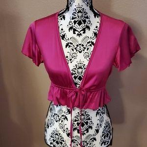 MARCIANO fuschia pink silk bolero size S